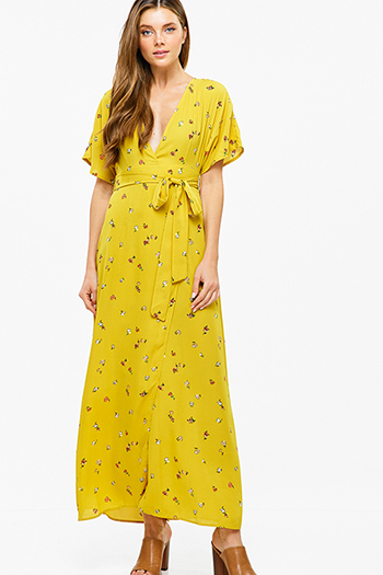 $15 - Cute cheap ruched fitted dress - Mustard yellow floral print kimono sleeve faux wrap tie waist boho sexy party maxi sun dress