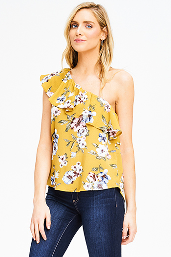 $15 - Cute cheap bejeweled sexy party crop top - mustard yellow floral print one shoulder ruffle tiered boho party blouse top