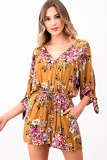 $15 - Cute cheap black floral print ruffle off shoulder pocketed boho wide leg jumpsuit - Mustard yellow floral print quarter length split sleeve surplice v neck pocketed boho playsuit romper
