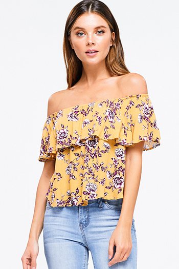 $15 - Cute cheap ruffle jumpsuit - Mustard yellow floral print ruffle off shoulder boho crop top