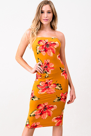 $15 - Cute cheap mauve pink ruffle one shoulder strapless pocketed party sexy club harem jumpsuit - Mustard yellow floral print strapless tube bodycon club midi dress