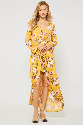 $30 - Cute cheap boho evening jumpsuit - Mustard yellow floral print twist front long sleeve boho evening romper maxi dress