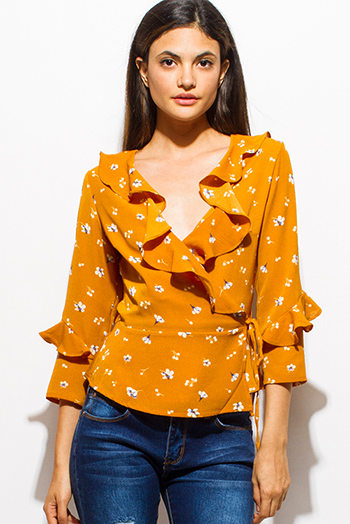 $20 - Cute cheap v neck boho blouse - mustard yellow floral print v neck faux wrap ruffled quarter sleeve boho blouse top