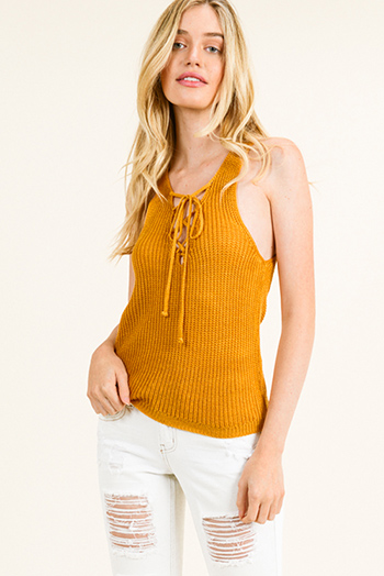 $12 - Cute cheap red stripe sleeveless sailor tie front pocketed wide leg boho jumpsuit - Mustard yellow knit sleeveless laceup front racer back boho sweater tank top