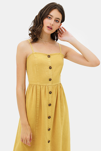 $30 - Cute cheap boho sun dress - Mustard yellow linen sleeveless button trim boho midi sun dress