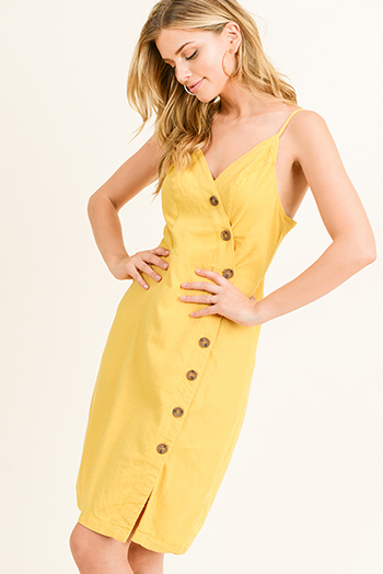 $15 - Cute cheap fitted bodycon mini dress - Mustard yellow linen sleeveless v neck button down smocked a line boho midi sun dress