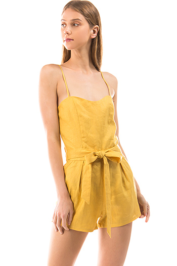 $25 - Cute cheap pocketed boho harem jumpsuit - mustard yellow linen smocked sleeveless tie waist boho romper playsuit jumpsuit