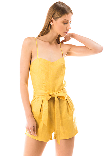 $25 - Cute cheap print romper - mustard yellow linen smocked sleeveless tie waist boho romper playsuit jumpsuit