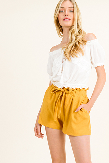 $15 - Cute cheap blue washed denim high rise waisted distressedpin hem detail skinny jeans - Mustard yellow linen tie high waisted pocketed resort boho paperbag summer shorts