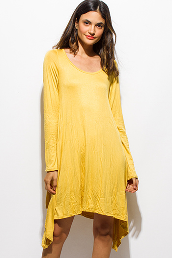 $15 - Cute cheap print chiffon sheer boho dress - mustard yellow long sleeve asymmetrical hem boho midi dress
