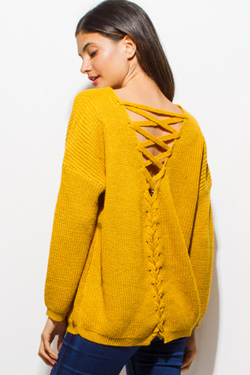 $20 - Cute cheap purple floral print crochet v neck laceup tie front long sleeve boho blouse top - mustard yellow long sleeve caged laceup back sweater knit top