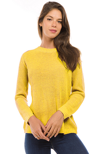 $20 - Cute cheap backless open back sexy party crop top - mustard yellow long sleeve caged laceup back sweater knit top