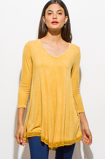 $15 - Cute cheap gold chiffon boho top - mustard yellow quarter sleeve crochet lace waterfall hem ribbed knit boho top