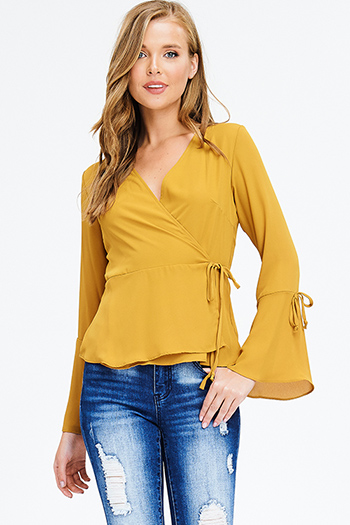 $15 - Cute cheap white and blue tie dye print long dolman sleeve button up boho blouse top - mustard yellow long trumpet bell sleeve wrap tie front boho blouse top
