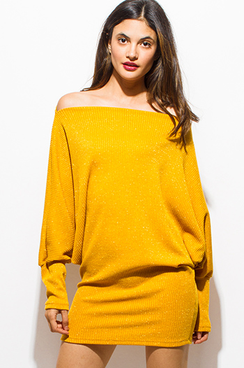 $20 - Cute cheap distressed mocha faux leather stripe banded waisted pleated sexy club mini skirt 88022 - mustard yellow metallic lurex off shoulder long dolman sleeve ribbed sweater tunic club mini dress
