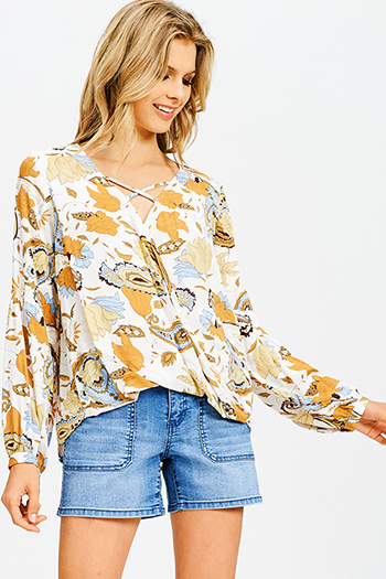 $15 - Cute cheap blue pinstripe rose patch ruffle tiered strapless boho tunic top - mustard yellow multicolor abstract floral print long sleeve boho wrap blouse top
