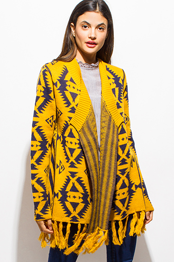 $20 - Cute cheap navy blue ethnic print sleeveless tie front boho crop top - mustard yellow navy blue ethnic open front fringe trim sweater knit cardigan jacket