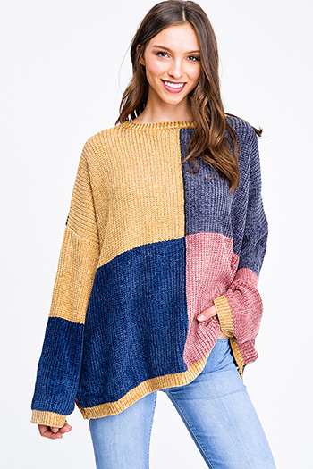 $10.00 - Cute cheap navy blue rust plaid pocket front button long sleeve up boho blouse top - Mustard yellow navy chenille knit color block long sleeve boho oversized sweater top