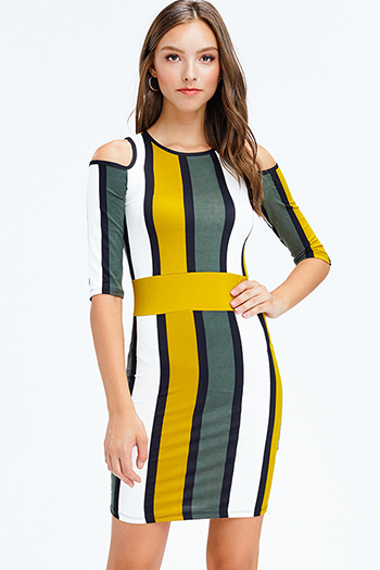 $15 - Cute cheap satin bejeweled evening dress - mustard yellow olive green color block striped cold shoulder half sleeve pencil fitted sexy club midi dress