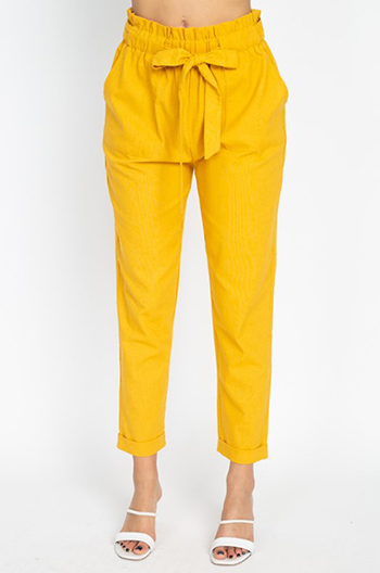 $25 - Cute cheap white denim a line high waisted fitted pocketed boho flare overalls jumpsuit - Mustard yellow paperbag high waisted pocketed tie waist tapered harem pants