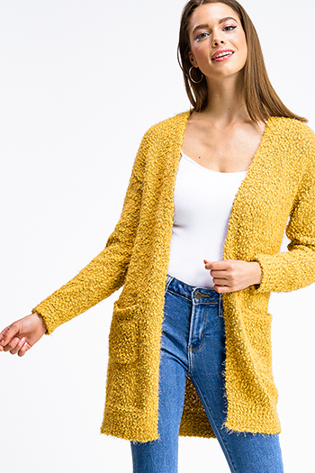 $25 - Cute cheap mocha taupe brown sweater knit fringe trim faux fur lined hooded boho poncho top - Mustard yellow popcorn knit long sleeve open front pocketed boho fuzzy sweater cardigan
