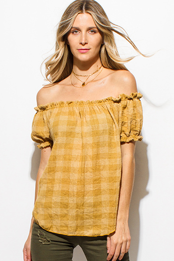 $15 - Cute cheap backless boho crop top - mustard yellow rayon gauze checker plaid short sleeve off shoulder boho top