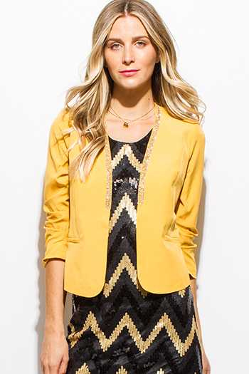 $15 - Cute cheap ruffle sheer sexy party top - mustard yellow rhinestone bejeweled ruched quarter sleeve cropped party blazer top