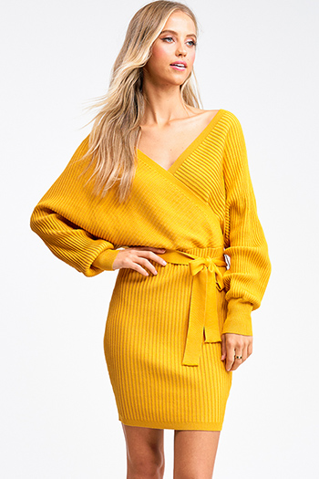 $30 - Cute cheap ruched sexy club mini dress - Mustard yellow ribbed knit long dolman sleeve surplice faux wrap belted sweater mini dress