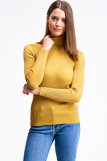 $20 - Cute cheap brown plaid print flannel long sleeve frayed hem button up blouse tunic top - Mustard yellow ribbed knit long sleeve turtle neck fitted sweater top