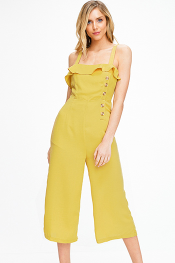 $20 - Cute cheap navy blue tropical print high waisted resort boho wide leg pants - Mustard yellow ruffle tiered apron front button trim wide leg boho culotte jumpsuit