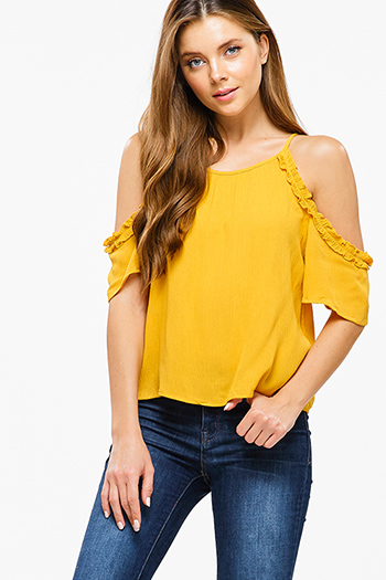 $15 - Cute cheap chambray blouse - Mustard yellow ruffled cold shoulder keyhole boho sexy party blouse top