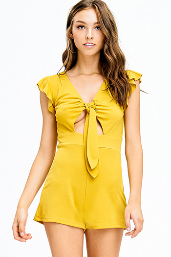 $15 - Cute cheap dark blue washed denim mid rise distressed destroyed cut out chewed hem ankle fit skinny jeans - mustard yellow ruffled cut out tie front resort romper playsuit jumpsuit