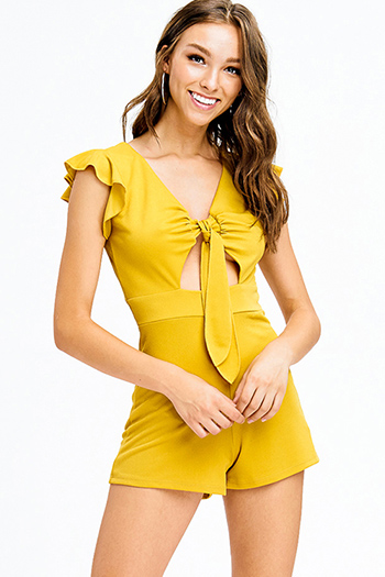 $12 - Cute cheap dusty blue floral print chiffon tie strap tiered short boho romper playsuit jumpsuit - mustard yellow ruffled cut out tie front resort romper playsuit jumpsuit