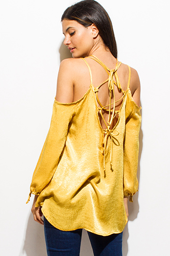 $10 - Cute cheap backless bejeweled dress - mustard yellow satin long sleeve cold shoulder cut out laceup backless sexy party top