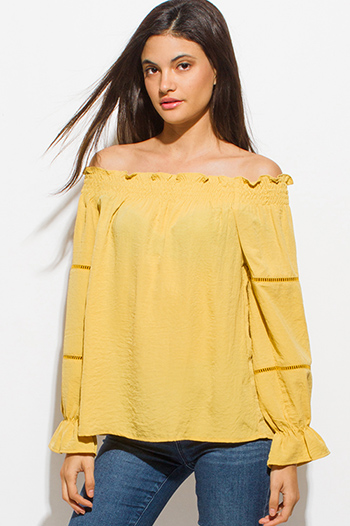 $15 - Cute cheap chambray top - mustard yellow shirred off shoulder long blouson sleeve boho blouse top