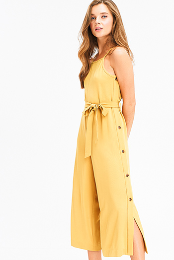 $25 - Cute cheap navy blue washed denim skinny jeans button up pocketed overalls jumpsuit - mustard yellow sleeveless apron front open back tie waist button side detail boho wide leg culotte jumpsuit
