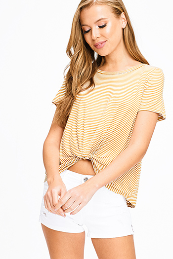 $12 - Cute cheap khaki beige tie dye knit quarter sleeve a line shift boho mini dress - Mustard yellow striped short sleeve twist knotted front boho tee shirt top