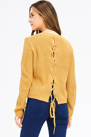 $15 - Cute cheap stone gray fuzzy knit quarter tiered bell sleeve round neck boho top - mustard yellow waffle knit long sleeve laceup back boho sweater top
