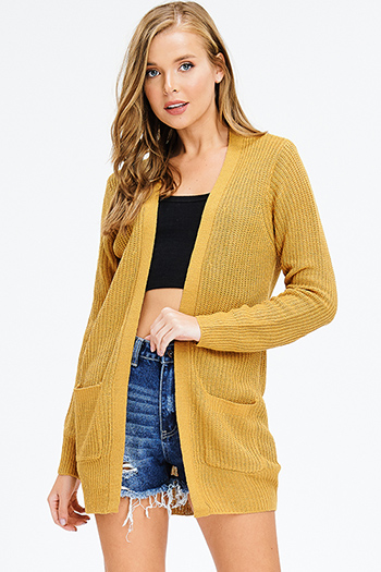$15 - Cute cheap brown plaid print flannel long sleeve frayed hem button up blouse tunic top - mustard yellow waffle knit long sleeve open front pocketed boho sweater cardigan Plus  size
