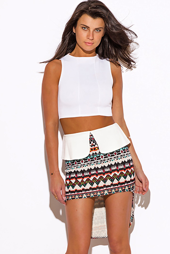 $5 - Cute cheap distressed mocha faux leather stripe banded waisted pleated sexy club mini skirt 88022 - ethnic print high low peplum scuba pencil mini skirt