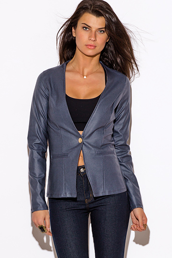 $10 - Cute cheap white golden button long sleeve cold shoulder cut out blazer jacket  - navu blue cut out back long sleeve blazer jacket