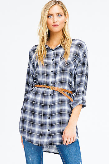 $12 - Cute cheap blue ruffle boho top - navy and black plaid long sleeve belted button up tunic top boho mini shirt dress