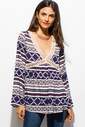 $15 - Cute cheap brown animal zebra print long dolman sleeve boat neck knit top - navy blue abstract ethnic print long bell sleeve crochet trim boho blouse top