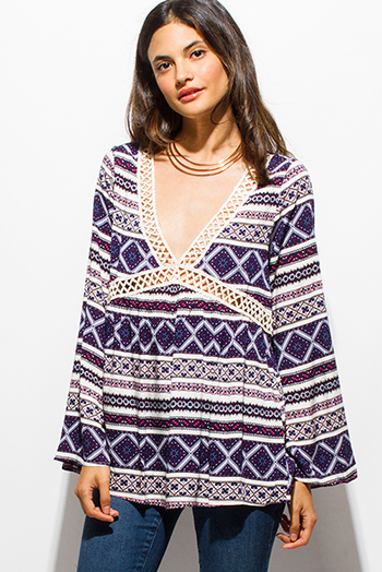 $15 - Cute cheap print slit boho tunic - navy blue abstract ethnic print long bell sleeve crochet trim boho blouse top
