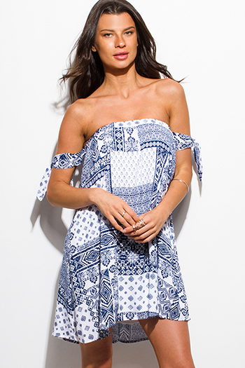 $15 - Cute cheap print wrap dress - navy blue abstract ethnic print strapless tie sleeve sexy party boho mini sun dress