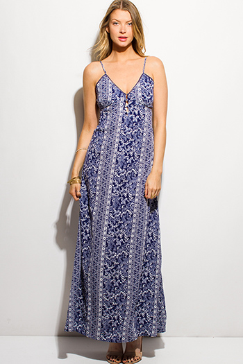 $20 - Cute cheap open back fitted midi dress - navy blue abstract paisley print button up cut out tie back evening boho maxi sun dress