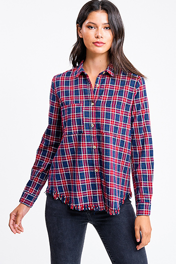 $20 - Cute cheap khaki beige faux fur fleece long sleeve button up pocketed oversized teddy coat jacket - Navy blue and red plaid flannel long sleeve frayed hem button up blouse top
