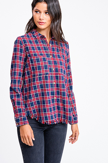 $15 - Cute cheap rust red thermal knit long sleeve crop boho button up top - Navy blue and red plaid flannel long sleeve frayed hem button up blouse top