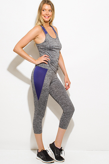 $15 - Cute cheap navy blue vest - navy blue charcoal gray color block work out yoga fitness capri leggings