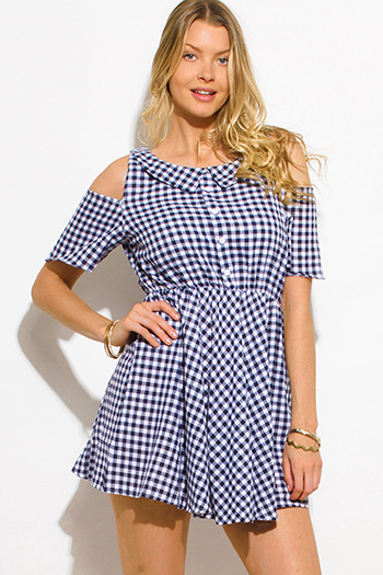 $15 - Cute cheap metallic ruched mini dress - navy blue checker plaid cold shoulder short sleeve collar a line retro mini shirt dress